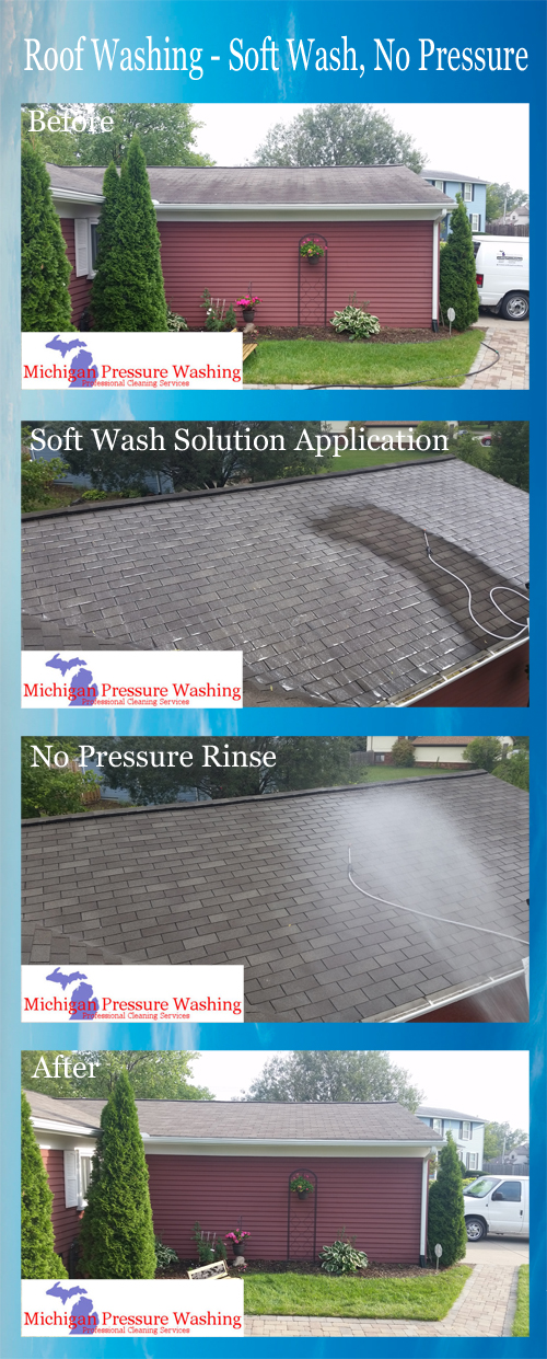 roof washing and roof cleaning michigan